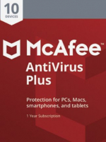 McAfee AntiVirus Plus (10 Devices, 1 Year) - PC, Android, Mac, iOS